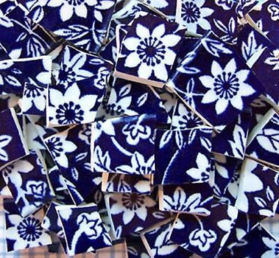 100 Navy Blue and White Calico Flower Chintz Mosaic Tiles Tile