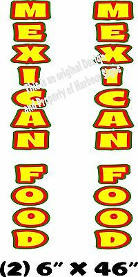 """Mexican Food Vertical Decal 46"""" x 6"""" each Cart Concession Trailer Food Truck"""