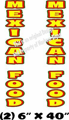 "Mexican Food Vertical Decal 40"" x 6"" each Cart Concession Trailer Food Truck"
