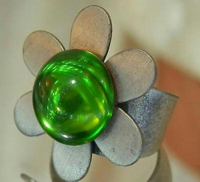 Cool Ziggy Signed Vintage 60's Pewter Adj. Size Green Glass Flower Ring 364MY6