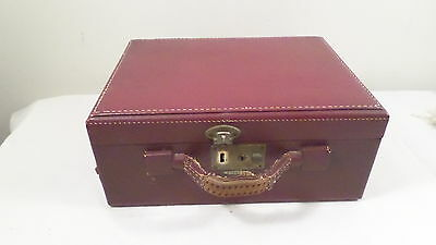 "Vintage Shortrip Red Hard Train Case Cosmetic Case Luggage 12x9x5""D"