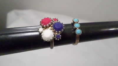 2 Vintage Plastic Stone Adjustable Rings Red/White/Blue & Turquoise