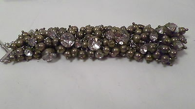 """Vintage Gold Bead and Clear Rhinestone Toggle Bracelet 1"""" Wide"""
