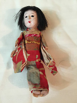 Adorable Vintage Japanese Doll, Paper Upper Legs, Squeaker, Good Condition