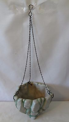 Brush McCoy Pottery 1930's RARE Rockcraft Gray Hanging Basket With Chain #H784
