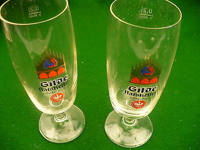 Gilde Ratskeller German pilsner beer set 2 glasses pedestal 6.5 ounces