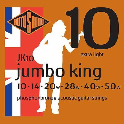 Rotosound JK10 Jumbo King Phosphor Bronze Acoustic Guitar Strings Gauge 10-50