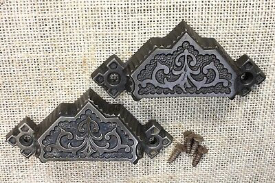 "2 old Bin Drawer Pulls cup door handles ferns antique 4 1/8"" rustic vintage"