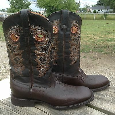 Men's 10.5 M square toe Rocky hand-hewn  dark brown leather Western/cowboy boots
