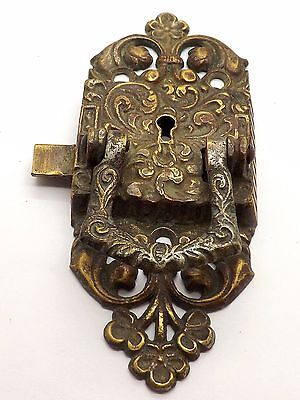 1897 Brass Cabinet Latch Lock - Lift Handle Skeleton Key  ~Pat. June 29, 1897~