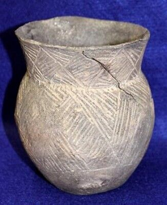 Vintage Antique Circa 1200-1400 AD Clark Co., AR. Dunkin Incised Jar Pottery
