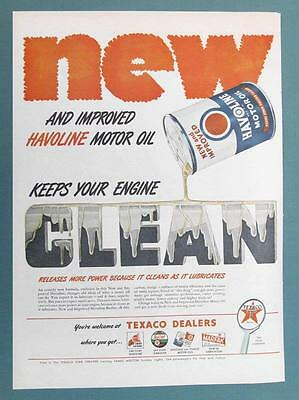 10 x 14 Original 1947 Texaco Ad IMPROVED HAVOLINE KEEPS YOUR ENGINE CLEAN
