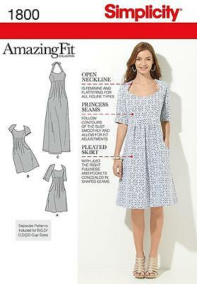 Simplicity Sewing Pattern Misses' / Women's Dress Amazing Fit 10 - 28W 1800 Sale