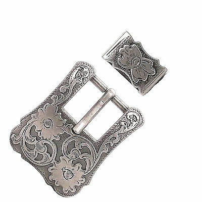 "Dual Cactus Buckle and Keeper Set Antique Nickel for 3/4"" Belts 3425-15"