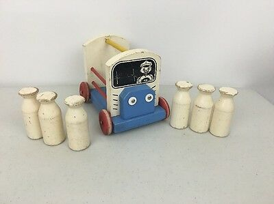 Vintage Wood Milk Wagon Wooden Toy Truck With 6 Bottles Toy