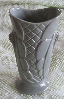 "Shawnee Pottery Gray Scalloped 9"" Vase"