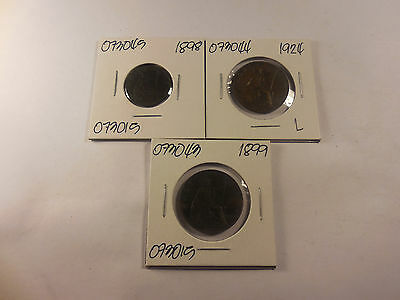 1800's - 1900's Great Britain Half Penny Farthing Lot Nice - #'s 073043, 44, 45