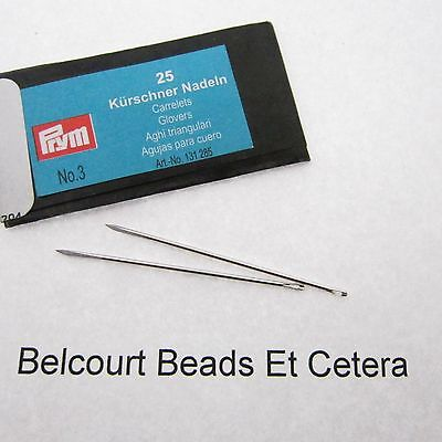 25 - Glover #3 Leather Beading Needles Prym Made In Germany Super Fine Quality