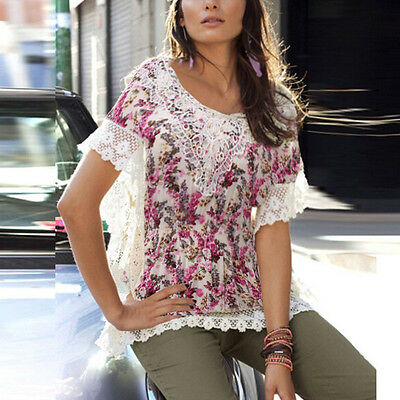S-3XL Boho Women Summer Batwing Sleeve Floral Tops Casual Blouse Loose T-shirt