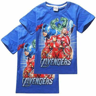 UK Boys Marvel's The Avengers T-Shirt Kid Summer Cotton Blouse Clothes 2-7 Years