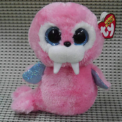 "NEW TY BEANIES BOOS TUSK THE Walrus  pink stuffed doll 6"" cute"