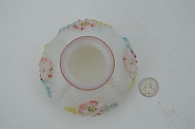 Antique Small White Milk Glass Oil Lamp Shade Flowers Pattern