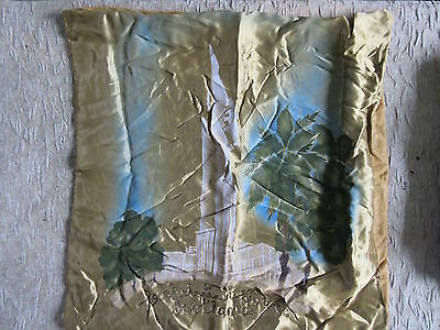 Old Vintage Painted Satin Pillow Cover Tower Scotland