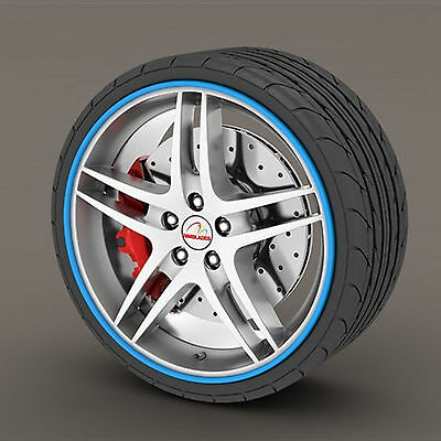 Blue Rimblades Alloy Wheel Edge Ring Rim Protectors Tyres Tire Guard Rubber