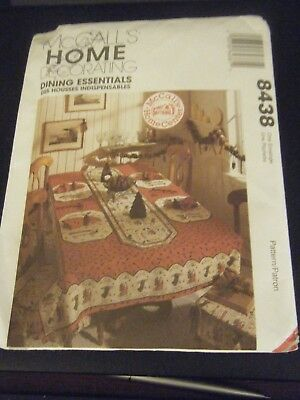McCall's 8438 Tablecloths, Table Runner, Chair Pad, Placemat & Napkin Pattern UC