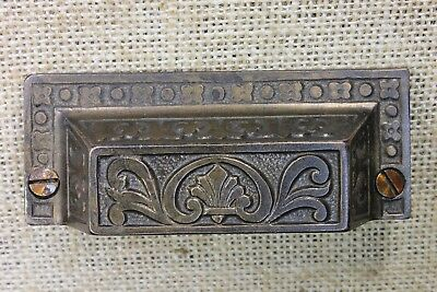 "old Bin Drawer Pull cup handle 3 3/4"" restored iron antique vintage dark brass"