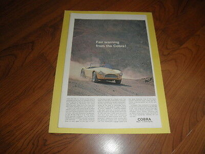"Vintage COBRA AD ""Fair Warning""-Original Magazine Print-1962"