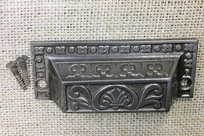 "old Bin Drawer Pull cup handle 3 3/4"" clean cast iron antique vintage clovers"
