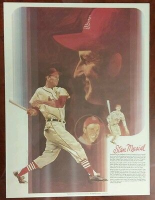 VINTAGE 1970's Coca-Cola Stan Musial St Louis Cardinals Baseball Greats POSTER