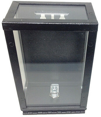 Toke Box - New Locking Metal Clear Toke Box With Bracket Casino Dealer Style *