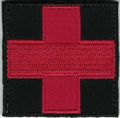 Red on Black Medic Red Cross Paramedic Hook side Fastener Patch
