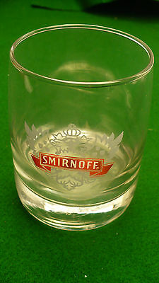 Smirnoff vodka 10 ounce cocktail glass clear heavy bottom grey outline red logo