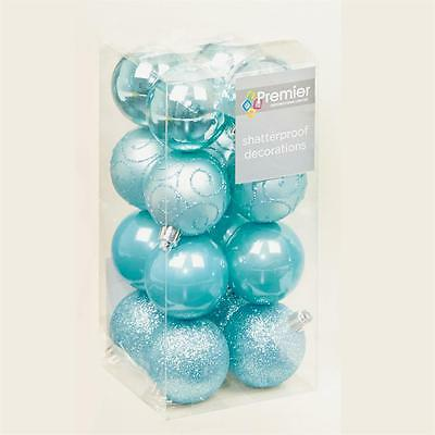 Christmas Tree Decoration 16 Pack 50mm Shatterproof Baubles - Ice Blue