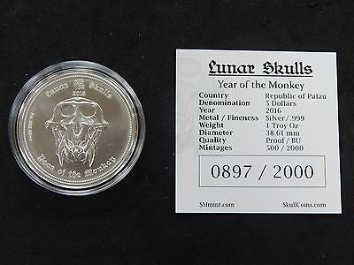 2016 Monkey Lunar Skull Uncirculated Coin $5 Republic of Palau Mintage 2,000