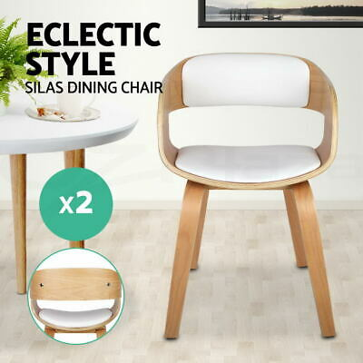 2x Silas Dining Chair Smiling Design Wooden Kitchen Café Bar Side Natural