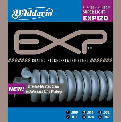 D'Addario Set EXP120 Super Light Electric Guitar Strings 9-42 Free US Shipping!