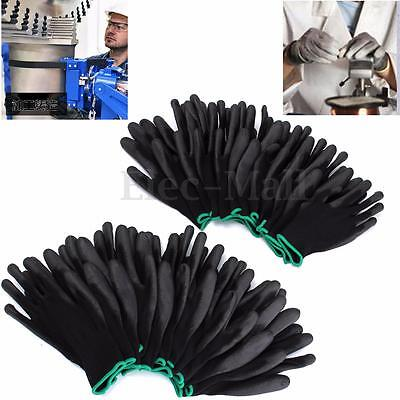 12/24 Pairs Nylon PU Safety Coating Work Gloves Builders Grip Palm Protect S M L