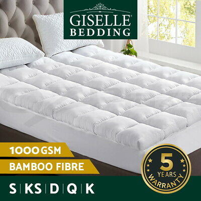 Giselle Bedding Bamboo Fibre Pillowtop Mattress Topper 1000GSM Cover All Size