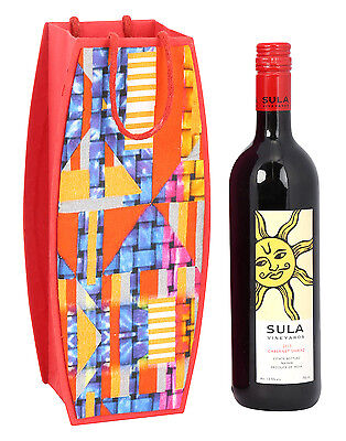 Paper Handicraft Wine Bottle Holder Red Cardboard Paper Abstract Printed