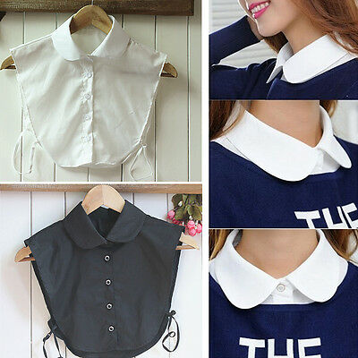 Fashion Women White/Black False Collapsible Collar Blouse Detachable Collars