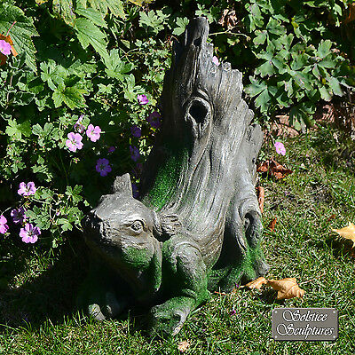"""UNUSUAL /""""DRIFTWOOD DUCK/"""" GARDEN ORNAMENT WEATHERED WOOD with MOSS EFFECT"""