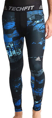 adidas Tech-Fit Base Mens Long Compression Tights - Blue