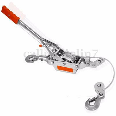 2 Ton 2 Hook Cable Puller Hand Winch Turfer For Caravan Boat Trailer Uk