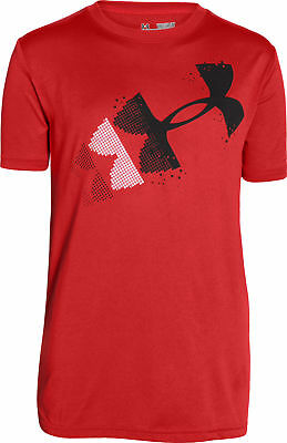 Under Armour Rising Pixelated Logo Junior Short Sleeve Top - Red