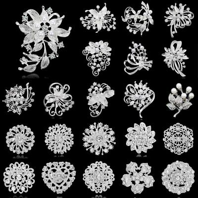 Wedding Bridal Bouquet Pearl Flower Brooch Pin Unisex Inlay Rhinestone Crystal