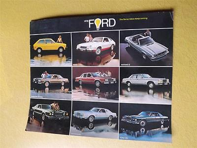 1978 Ford Sales Brochure Spec Sheet Color Charts Mustang Ii Pinto Fiesta Futura